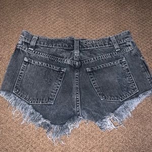 LF Black Jean Ripped Shorts